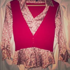 Bebe led and cream sweater top Bebe red and cream sweater style top bebe Tops