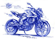 Quick Sketches exploration on an evolution of the BAJAJ Pulsar 200 NS.New technical package with a 300cc engine.