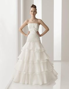 Simple Wedding Dress A Line Strapless Floor Length Champagne 0011503401 $270.14 A-Linie