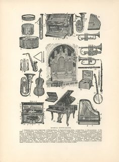 Musical Instruments Illustration Dictionary Art by HangWithUsToday, $7.00