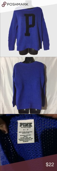 Victoria's Secret pink varsity knit sweater Absolutely gorgeous royal blue knit sweater by Victoria's Secret pink features a black P on the front. PINK Victoria's Secret Sweaters Crew & Scoop Necks