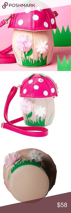 """NWT Betsey Johnson Shroomin´ Cross-Body Bag From Betsey Johnson, the Shroomin' cross-body bag features: Faux leather Mushroom, lady bug and faux flower detail Gold tone hardware Zip closure  Adjustable cross-body strap  Approx. 8 x 4.25 x 8.5""""; 14.5-27.5"""" strap drop.        NWT!!!   Great little bag!! Betsey Johnson Bags Crossbody Bags"""