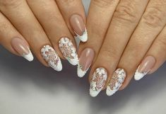 50 Top Best Wedding Nail Art Designs to Get Inspired Lace Nails, Glitter Nail Art, Flower Nails, Pink Nails, Bride Nails, Wedding Nails, Cute Christmas Nails, French Tip Nails, Boxing Day