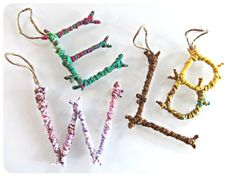 DIY letter stick ornaments