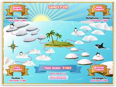 Map of paths to Summer Isle- Manga High has some neat math games. Multiplication Facts Practice, Multiplication And Division, Math Games, Integers, Online Poker, Going On Holiday, Numeracy, Ipads, Fractions