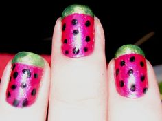 watermelon painted nails  Cuter and sooo easy to do!! Just have to go buy green......