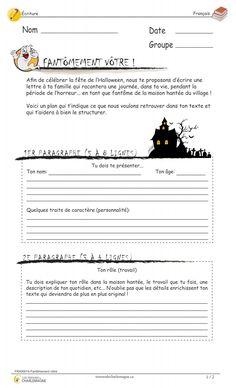 Ce document est une situation d'écriture originale travaillant le texte descriptif. L'élève devra écrire une lettre en s'imaginant être dans la peau d'un fantôme. Il est aussi possible d'utiliser ce document en évaluation.