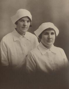 Two Nambour girls in their nurse's uniforms, Brisbane, ca. 1933