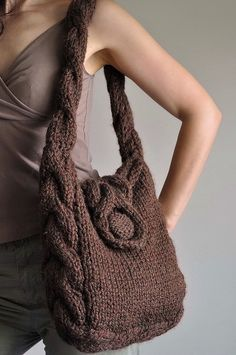 https://flic.kr/p/6KBSqU | Soul of a Vagabond - classic cable handknit shoulder bag - eco-fashion | I combined here three things that I have weakness for: cable pattern, big and comfortable bag and earth-friendly materials. This original and one-of-a-kind bag will hold everything you need and even what you don't need! :) It is completely handmade and my original design. I knitted it with fantastic super bulky lamb-wool and acrylic blend. Lined with cotton fabric with double practical pocket…