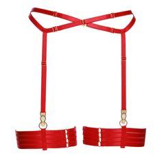 41a3b6494f Set of Red Bondage Garter Belt With Four Strap Leg Garters
