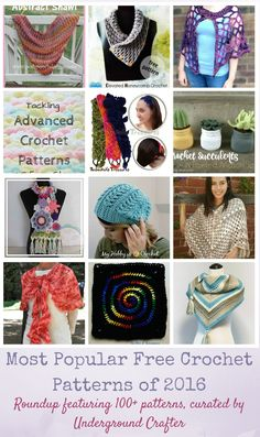 16 Most Popular Free Crochet Patterns of 2016, including links to over 100 patterns by top designers via Underground Crafter