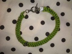 Hand Knit Green and Purple I-Cord Bracelet