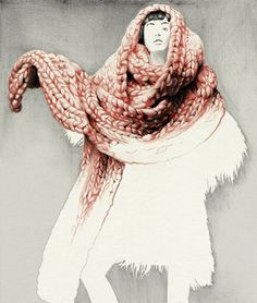 Oversized knit scarf. I remember seeing on in the 2008 Victoria's Secret Fashion show and wanting to make one!
