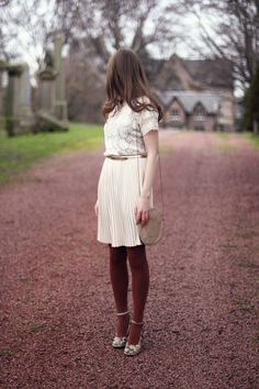 lady lace top + pleated skirt + burgundy tights + floral mary janes + perfect purse look-into-the-look Looks Style, My Style, Colored Tights, Brown Tights, Thick Tights, Wool Tights, Cream Skirt, Couture, Pleated Skirt