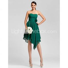 [USD $ 87.29]  A-line Strapless Asymmetrical Chiffon Bridesmaid Dress (dont have a light teal color)