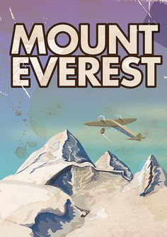 Mount Everest Vintage Travel Poster Print By Nicholas Greenaway