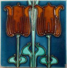 "Rich colour glazes are used in this stunning Art Nouveau part panel tubed design from J.W.Wade c1906.see tile reference 732 in the book ""Art Nouveau Tiles with more Style"""