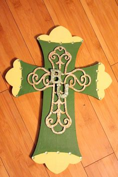 Your place to buy and sell all things handmade Green Glitter, Green And Gold, Wooden Initials, Baylor University, Clover Green, Wood Crosses, Yellow Accents, Good Ol, Peridot