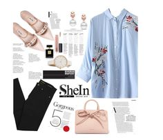 """""""Shein contest; Flower Shirt"""" by amra-softic ❤ liked on Polyvore featuring Yves Saint Laurent, Miu Miu, Mansur Gavriel, Escalier, MAC Cosmetics and Avon"""