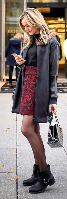 Red And Black High Rise Animal Print Mini Skirt