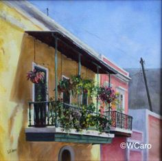 "Balcony in Old San Juan 12x12"" , oil on canvas, NFS  Other paintings at https://www.etsy.com/shop/ArteWandaCaro"