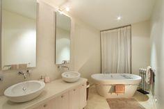 His and hers - Sundowner Villa, Camps Bay. Camps, Corner Bathtub, Villa, Romantic, Mirror, Places, Furniture, Home Decor, Decoration Home