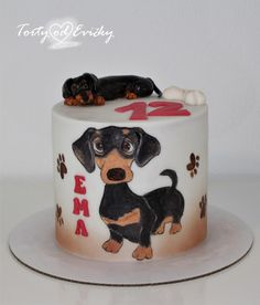 Dachshund - cake by Cakes by Evička 26 Birthday Cake, Puppy Birthday Cakes, Dog Cakes, Cupcake Cakes, Mini Tortillas, Bingo Cake, Farm Animal Cakes, Different Kinds Of Cakes, Watercolor Art