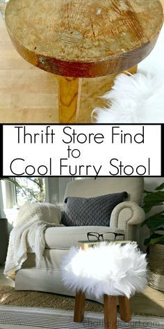 Cool Thrift Store Faux Fur Stool. Love this great DIY! So cute in my living room. #diy #thriftstore #wooden