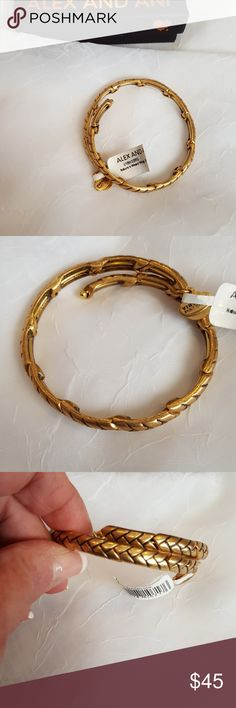 💖MOM💖Alex and Ani bracelet NWT NO LONGER AVAILABLE ON THEIR WEBSITE Vintage Sixt-Six collection  Nature's Weave wrap bracelet Antique goldtone finish Gift box included Alex and Ani  Jewelry Bracelets