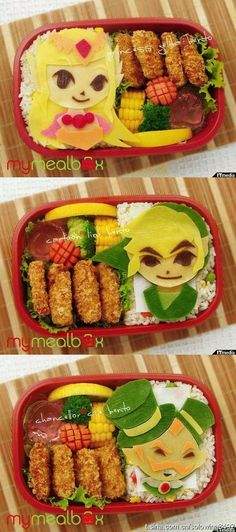 Today the Department of Impossible Cuteness is lunching on beautiful bento meals. Dorkly recently assembled an awesome collection of Nintendo-themed charaben (character bento) featuring beloved video. Bento Kawaii, Cute Food, Good Food, Yummy Food, Awesome Food, Bioshock, Metal Gear Solid, Japanese Lunch Box, Japanese Food