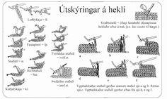 hekl leiðbeingar 3 Crochet Instructions, Felt Diy, Stitching, Knitting, Words, Fabric, Costura, Tejido, Tela