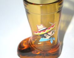 Rare Vintage Mod Dep Topaz Boot Shot Glass Mexican wearing Sombero