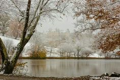 Autumn snow at the Biltmore in Asheville, NC.