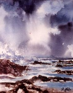 "Watercolor seascape   ""Storm clouds"""