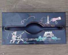 SALE /// Vintage Black Metal Tissue Holder Painted  POODLE /  EIFFEL Tower Tole Shabby Chic ooak