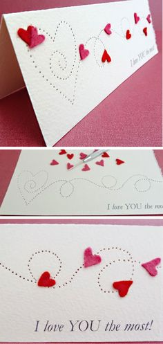 18 Amazing Valentines cards you can make in no time. Paper Pierced Valentine's Card.  Easy Valentines Cards for Kids to Make
