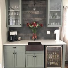 Give a coffee corner or wet bar extra personality with a Timberwall barnwood-inspired plank wall. This peel-and-stick DIY can be tackled in just a weekend!