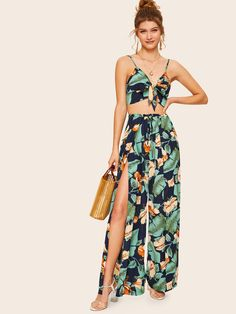 To find out about the Knot Front Cami Top and Wrap Split Pants Set at SHEIN, part of our latest Two-piece Outfits ready to shop online today! Cami Tops, Halter Tops, Cami Crop Top, Pool Party Outfits, Summer Outfits, Summer Wear, Two Piece Dress, Two Piece Outfit, Split Pants