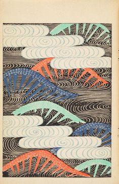 Patterns in black from Shin Bijustukai v.1 : bamboo, plum blossoms, waves.