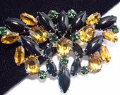 Vintage Rhinestone Brooch Amber Black Marquise Sterling Silver Open Back Setting