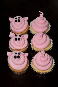 Pig Cupcakes - Would be cute for any animal, front and back :)