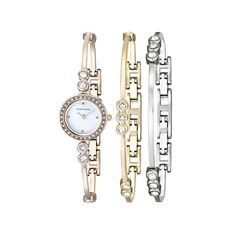 Anne Klein Women's AK/1690TRST Swarovski Crystal-Accented Rose Gold-Tone Bangle Watch and Bracelet Set ** To view further for this item, visit the image link.