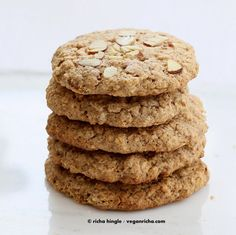 Almond Butter Oatmeal Breakfast Cookies. Vegan Gluten-free Oil-free Recipe