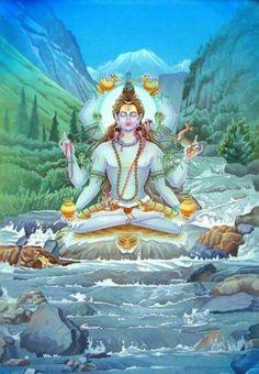 Hindu Gods : Shiva (Shiv) - the destroyer, also of bad habits - with free wallpaper and many pictures. Shiva Parvati Images, Shiva Shakti, Indian Artwork, Indian Art Paintings, Shiva Art, Hindu Art, Rishikesh, Shiva Yoga, Lord Shiva Family
