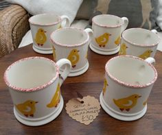 """Gorgeous #LauraAshley Mugs X6 for Easter, £30 by Vintassion Seller Vintybits - Exclusive to Laura Ashley made and hand decorated in England, ~3"""" diameter. In very good condition. Please note one of the mugs has an X scored on the bottom - see photo."""