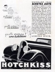 Art Deco Vintage French Ad  Hotchkiss  Automobile by reveriefrance