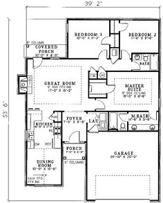 First Floor Plan of Traditional House Plan 61171