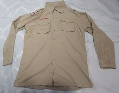 BSA BOY SCOUTS OF AMERICA Beige Uniform Shirt L/S Mens sz Medium flag  Vented #BoyScoutsofAmerica #Shirt