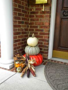Flint Corn and Miniature Pumpkins Pumpkin Decorating, Porch Decorating, Decorating Ideas, Decor Ideas, Flint Corn, Pumpkin Arrangements, Pool Party Invitations, White Pumpkins, Painted Doors