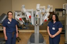 Pictured with the da Vinci ® surgical device are left to right, Dr. Emily Boyd, OB/GYN and member of Memorial's Medical Staff and Diana White, surgical coordinator at Memorial Hospital.